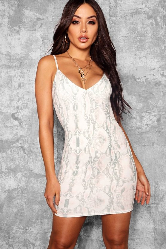 Snake Print Strappy Plunge Bodycon