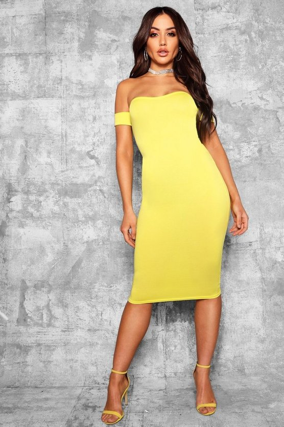Off Shoulder Curved Neckline Midi Dress