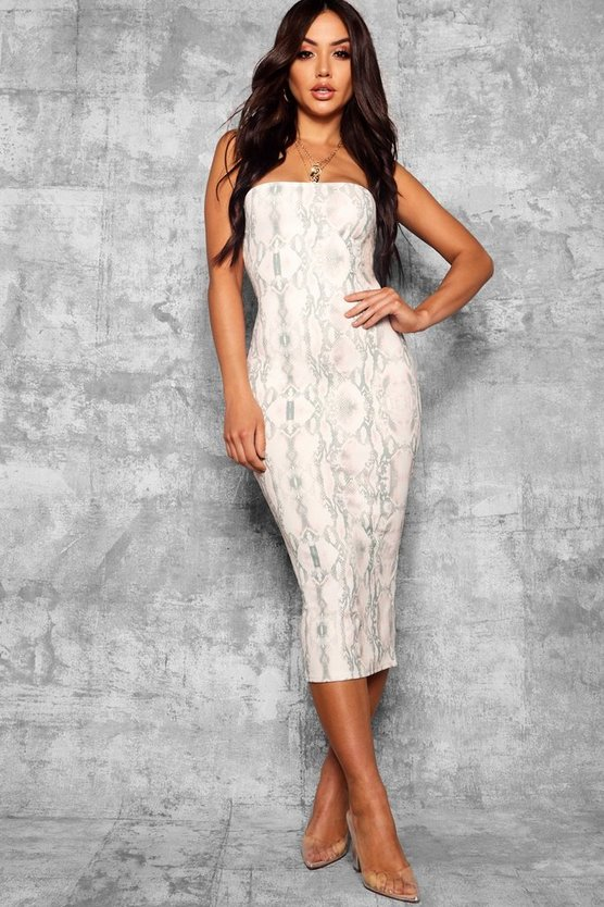 Snake Print Bandeau Fitted Midi Dress