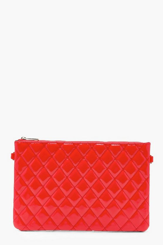 Patent Quilted Ziptop Clutch