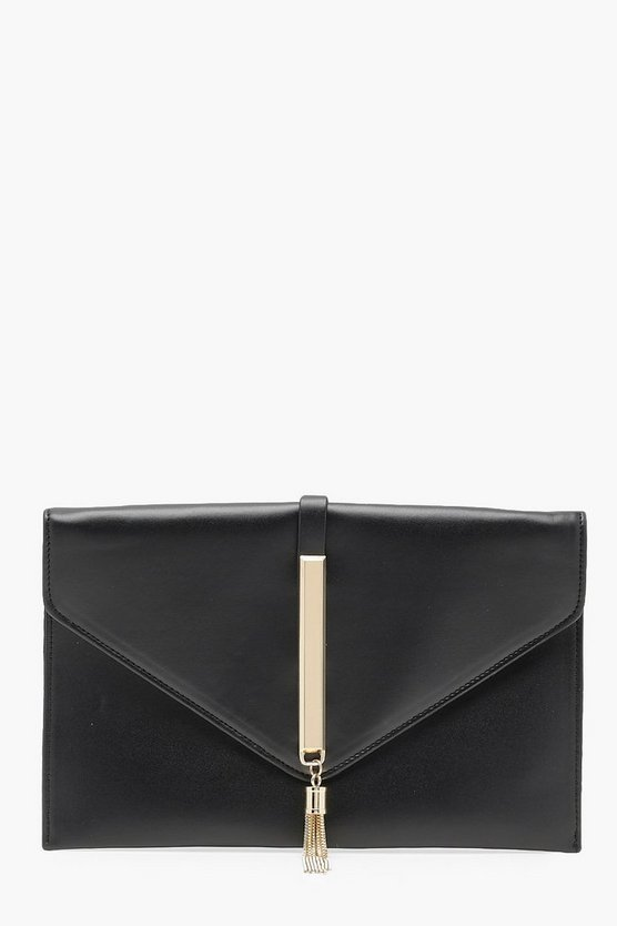 Millie Metal Rod Tassel Envelope Clutch Chain