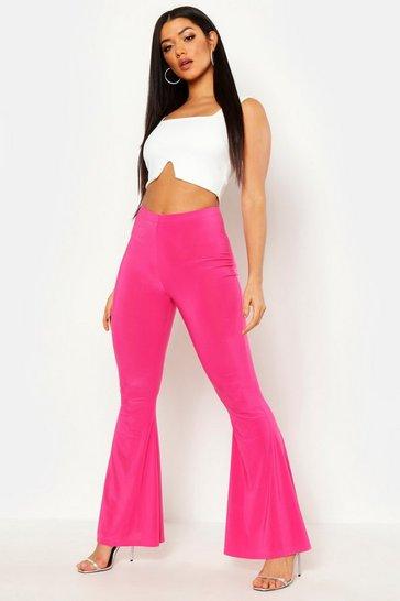 Hot pink High Waist Basic Slinky Skinny Flares
