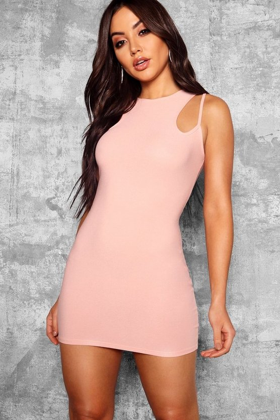 Strappy Racer Neck Bodycon Dress