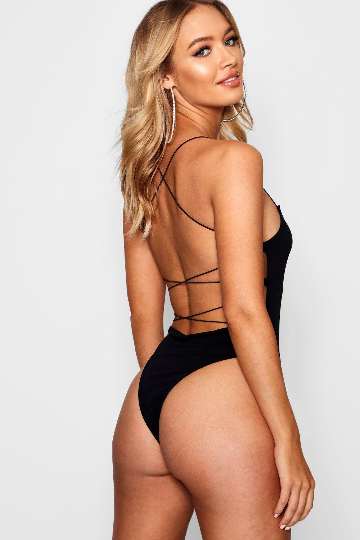 Womens High Rise Extreme Lace Up Back Body - black - 38, Black - Boohoo.com