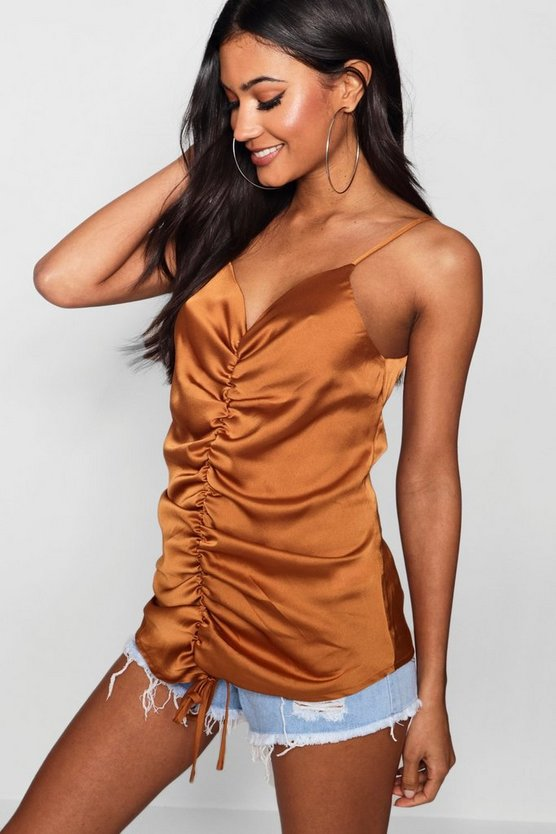 Georgia Satin Ruched Front Cami