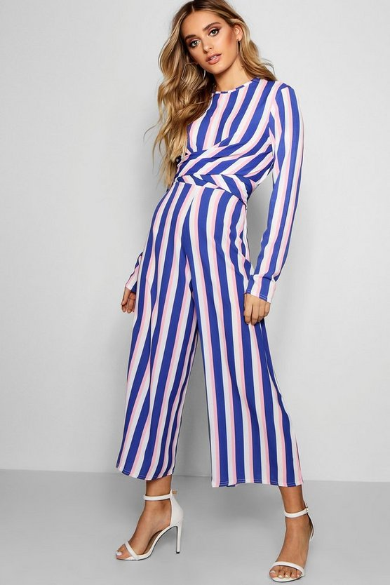 Striped & Twist Front Cullote Jumpsuit