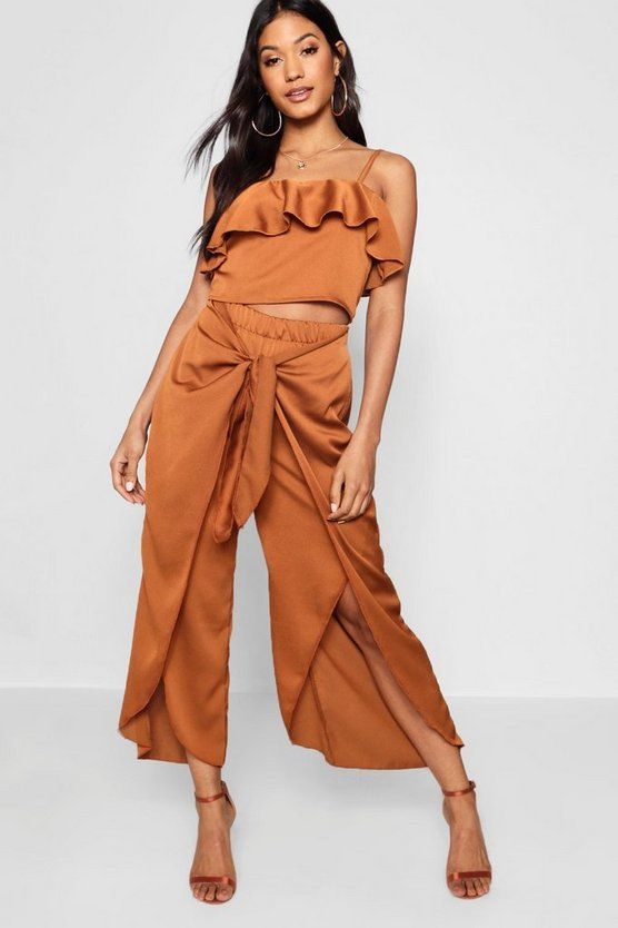 Satin Ruffle Top Trouser Co-ord Set