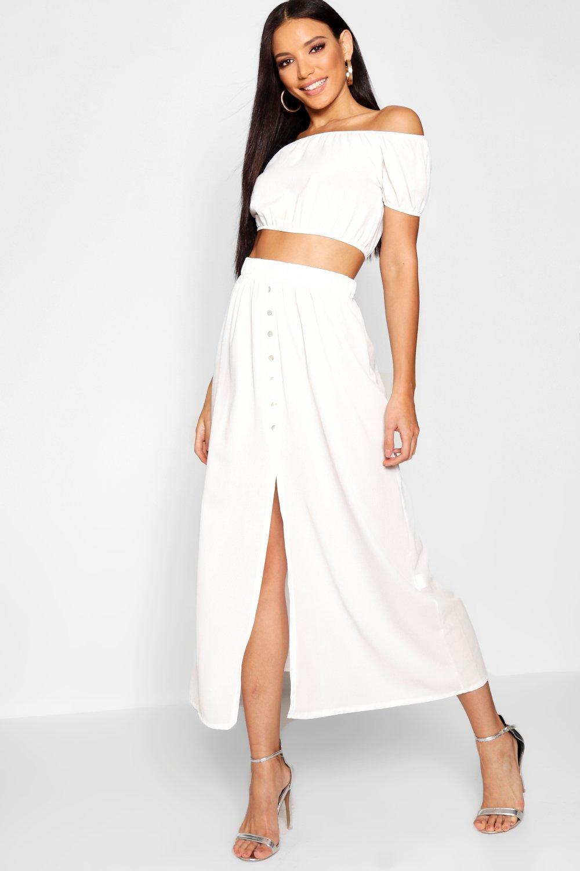 Купить со скидкой Макси-платье с разрезами на пуговицах Топ Bardot Co-ord Набор