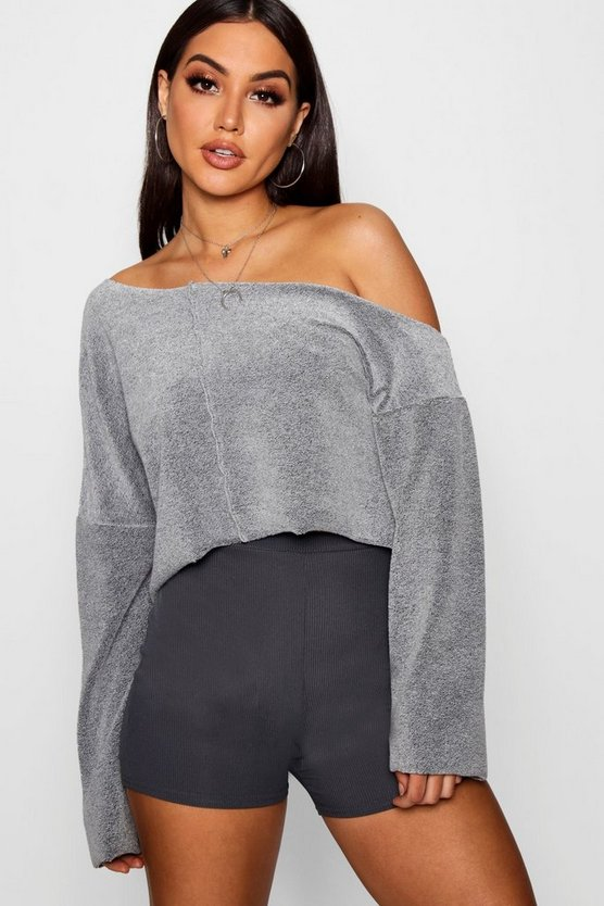 Grace Reverse Loop Back Seamed Crop Sweater