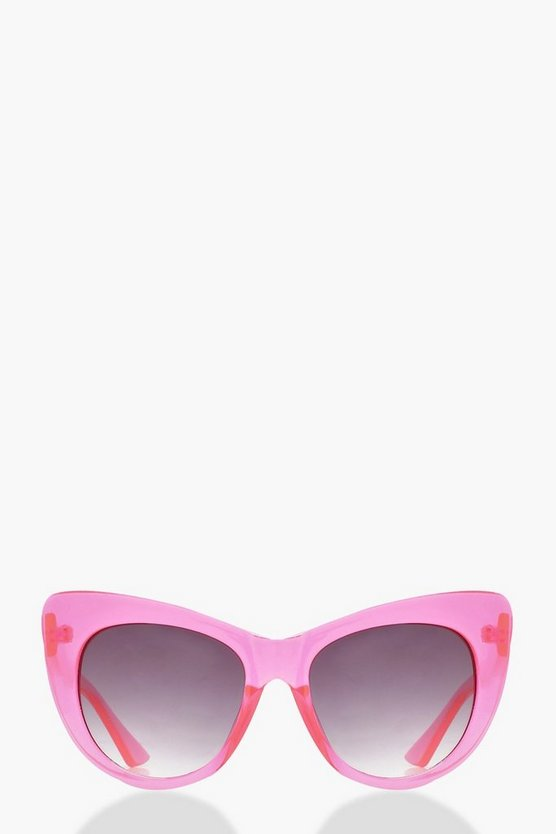 Emily Pink Frame Angular Cate Eye Sunglasses