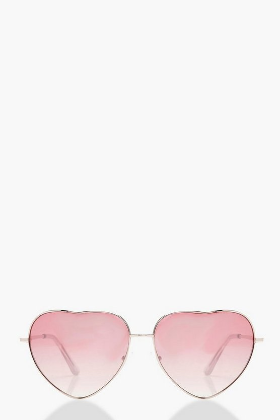 Alice Pink Lens Love Heart Sunglasses
