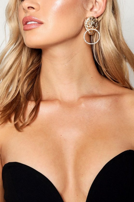 Leah Lion Medallion Hoop Statement Earrings by Boohoo