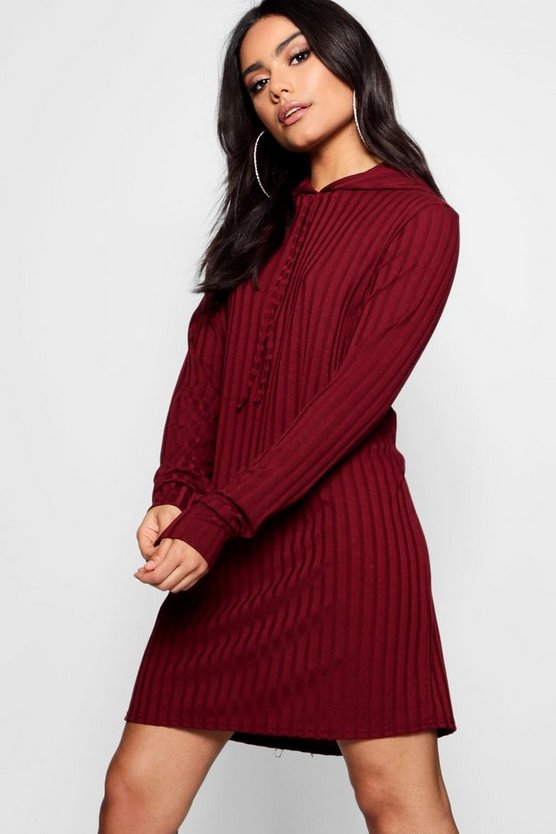 Oversized Hooded Rib Knit Dress