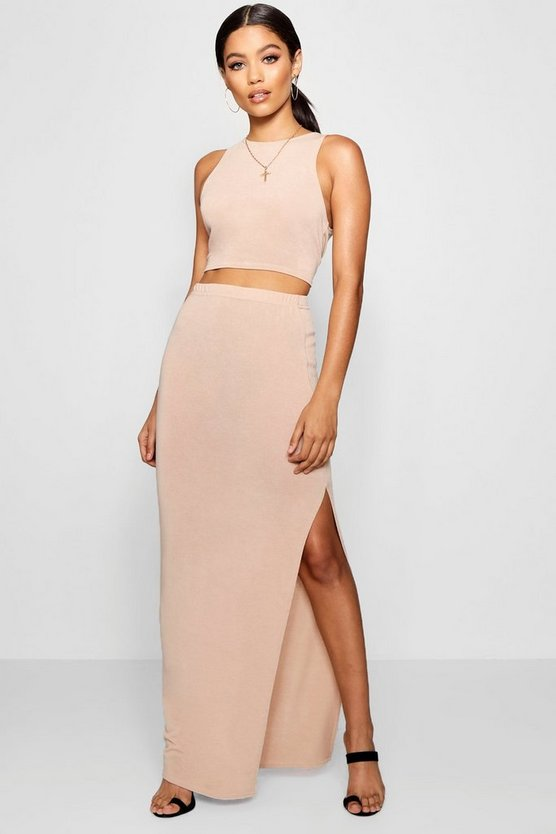 Side Split Midi Skirt Knitted Co-ord