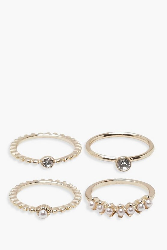 Faux Pearl Diamante Rings 4 Pack