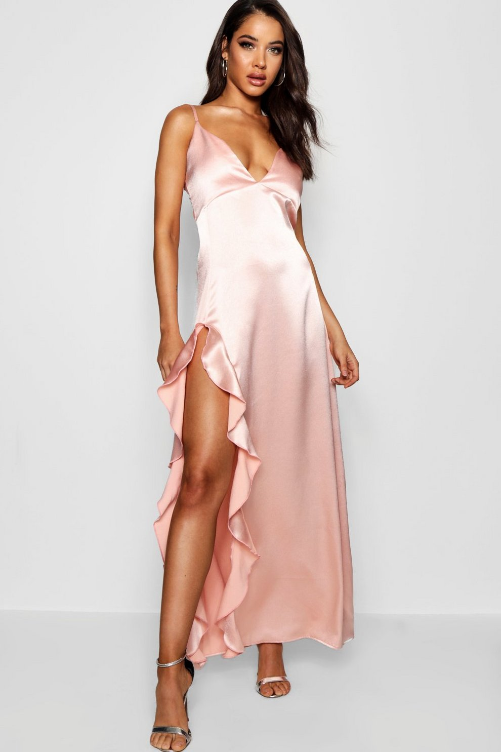 Boohoo Frill Detail Satin Maxi Dress Discount Supply View Sale Online Free Shipping Manchester Visit For Sale UPkTppHKU