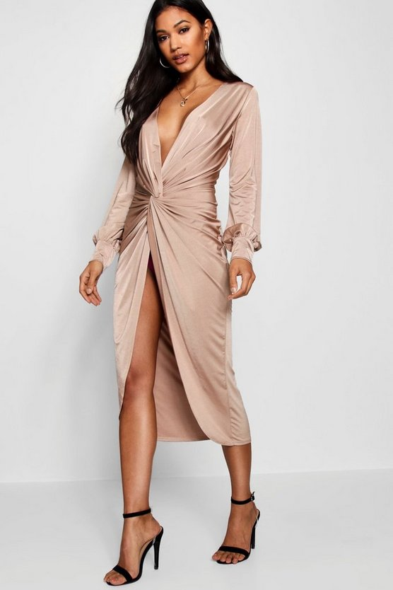 Kerry Twist Front Plunge Slinky Midi Dress