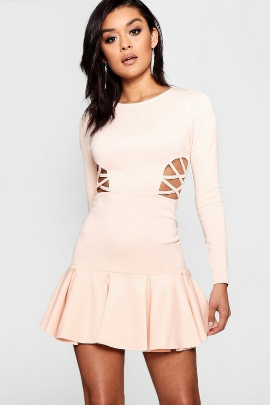 Bella Frill Hem Cut Out Detail Mini Dress