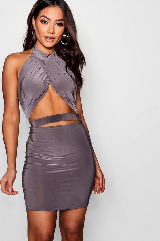 Cross Front Cut Out Bodycon Dress
