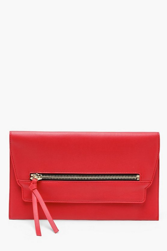Contrast Chunky Zip Clutch & Chain