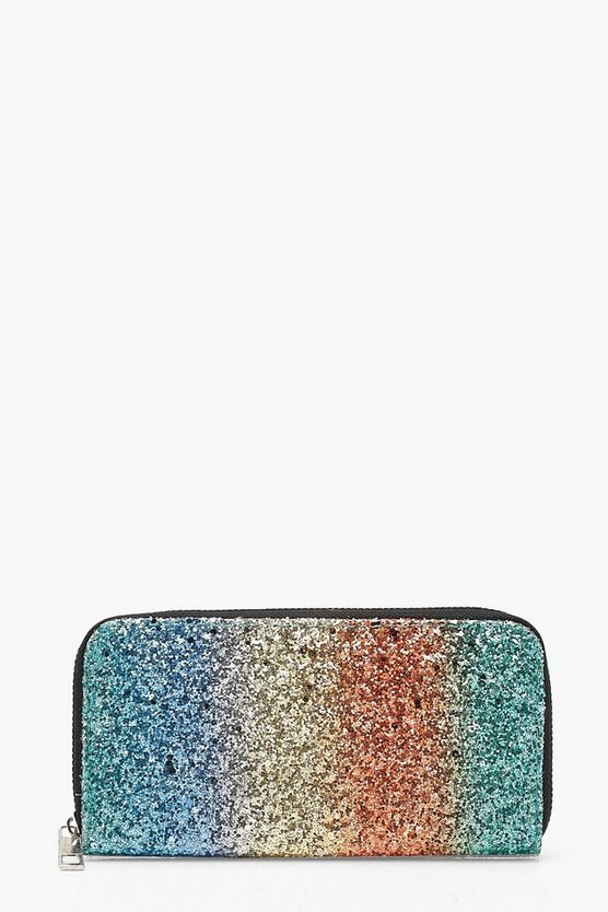 Rainbow Glitter Zip Around Purse