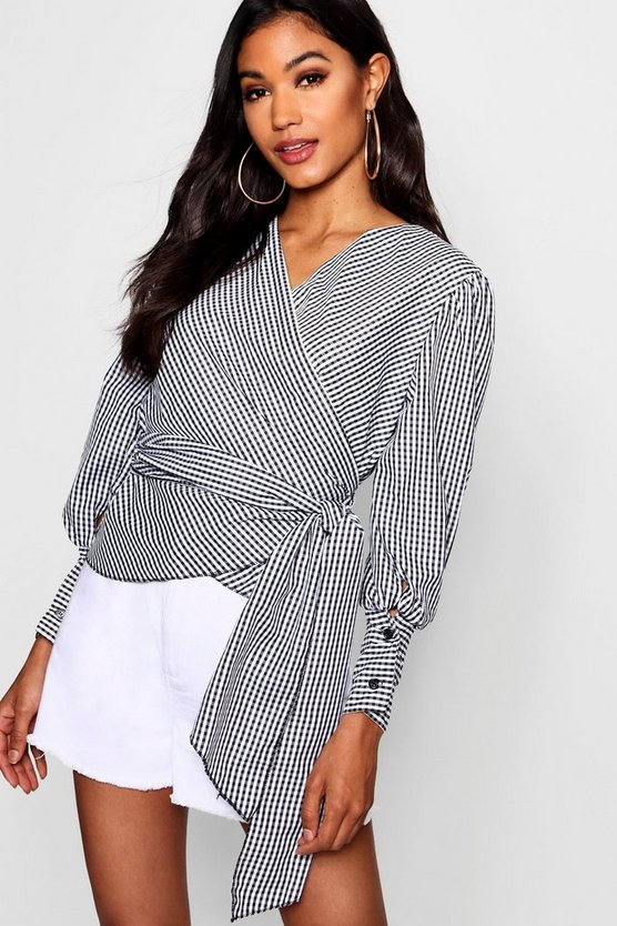 Skyler Gingham Wrap Blouse