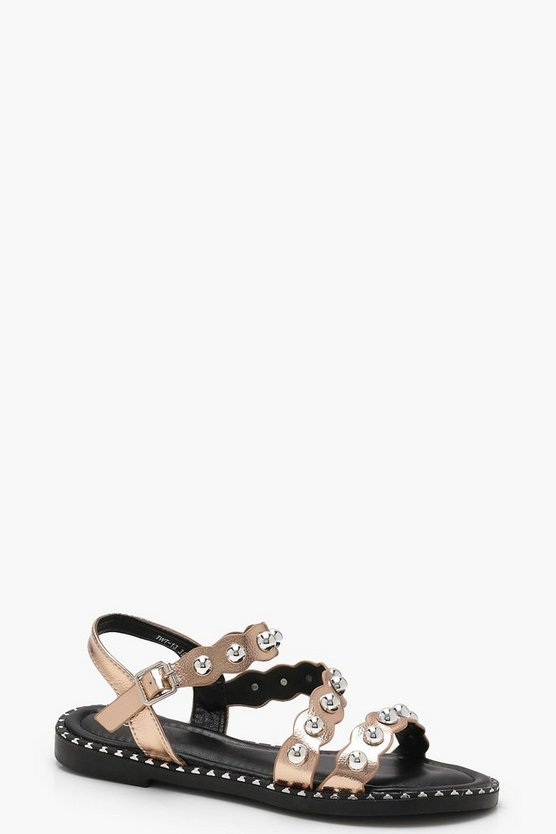 Studded Asymmetric Sandals