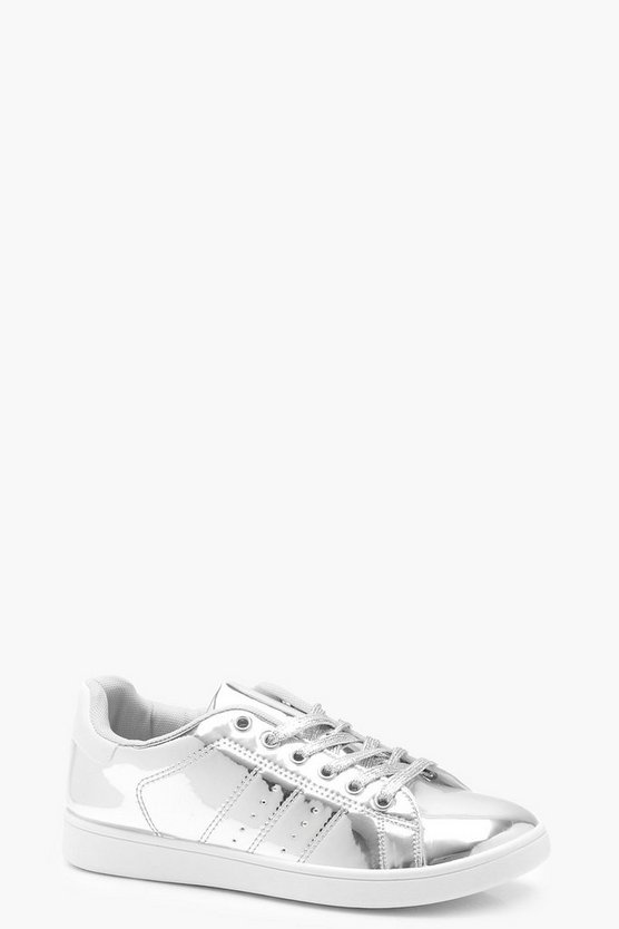 Molly Metallic Lace Up Trainers