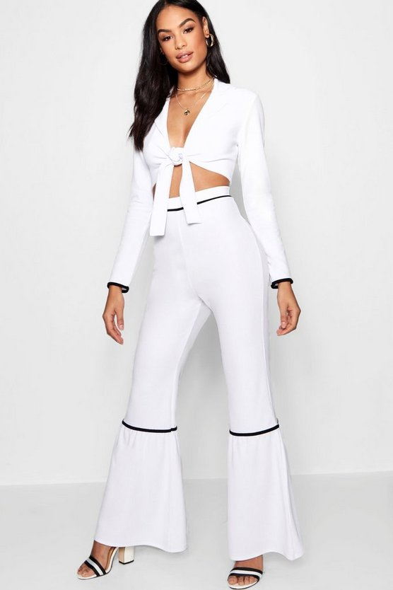 Contrast Piping Wide Leg Trouser