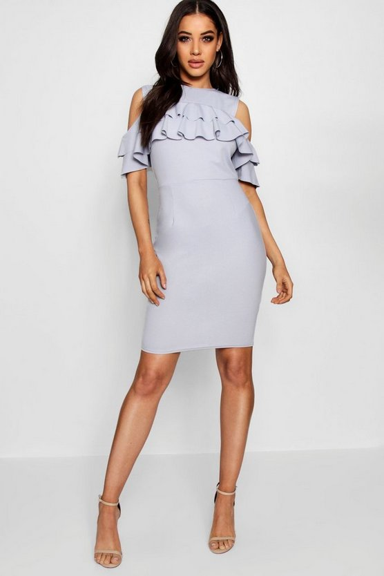 Ava Cold Shoulder Ruffle Midi Dress