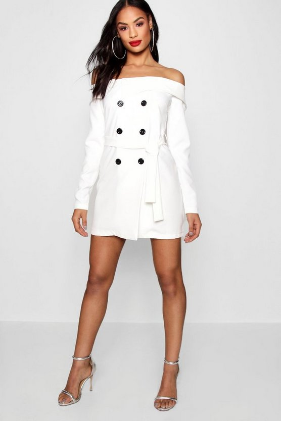 Cassie Off Shoulder Double Breasted Blazer Dress