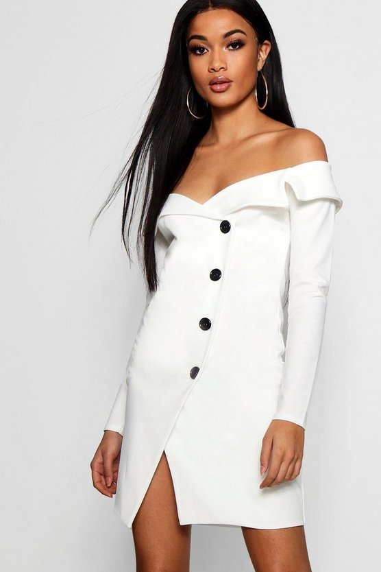 Off Shoulder Wrap Blazer Dress