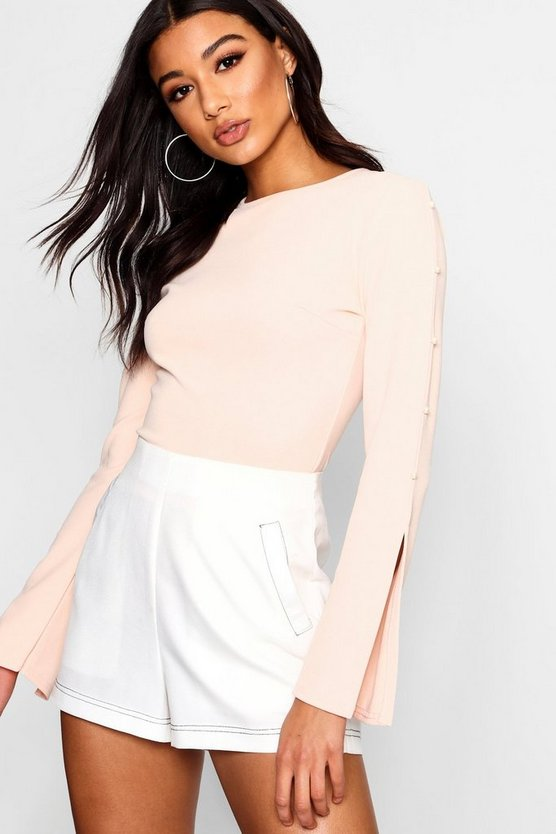 Samantha Pearl Trim Split Sleeve Bodysuit
