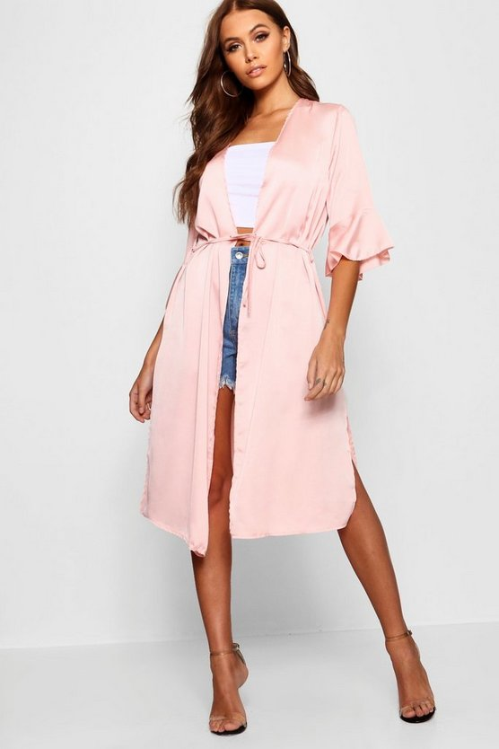 Ruffle Sleeve Belted Woven Duster