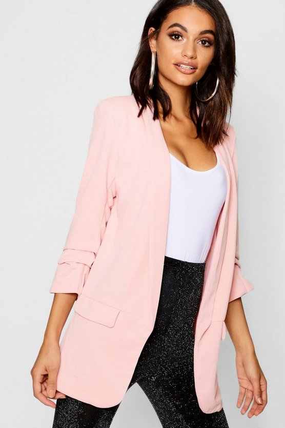 Tailored Ruched Sleeve Pocket Blazer