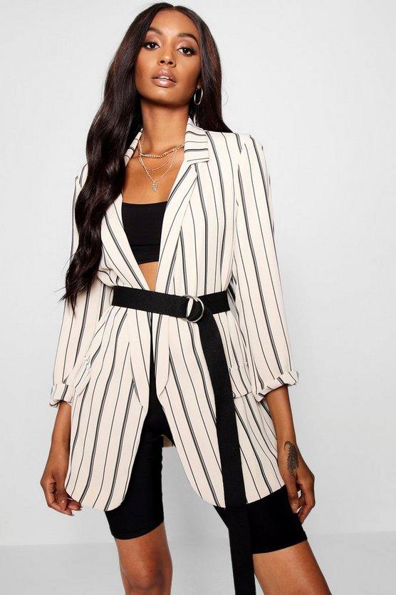 Jessica Oversized Tailored Stripe Pocket Blazer by Boohoo
