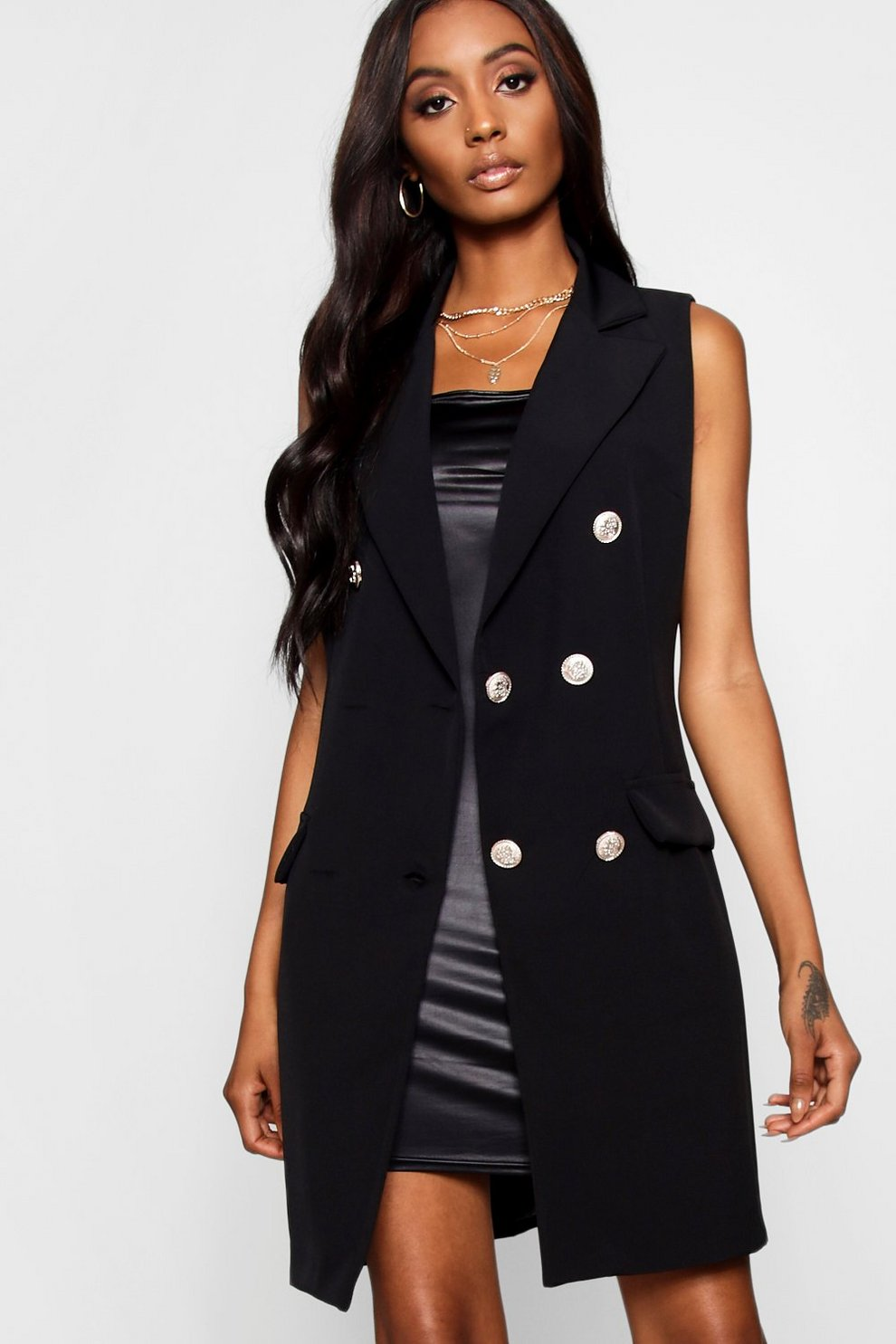 Boohoo Tailored Military Button Duster Jacket Low Shipping Fee TKlhagO