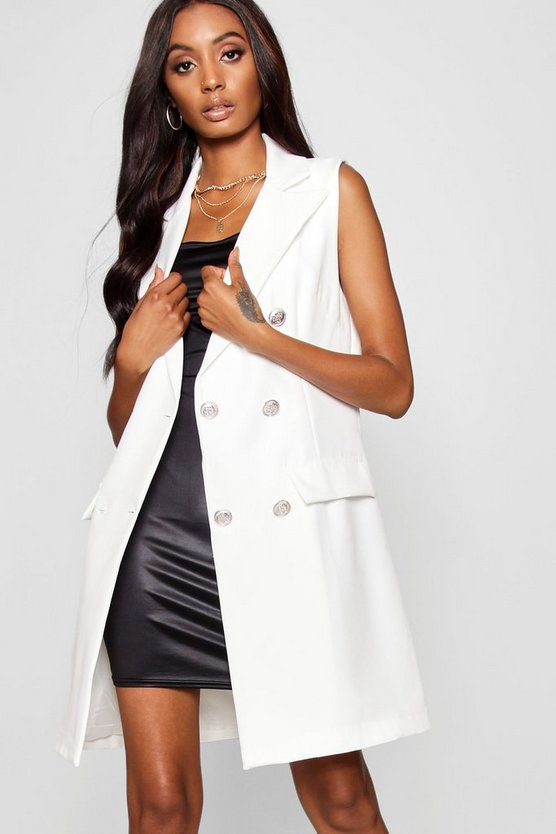 Poppy Tailored Military Button Duster Jacket