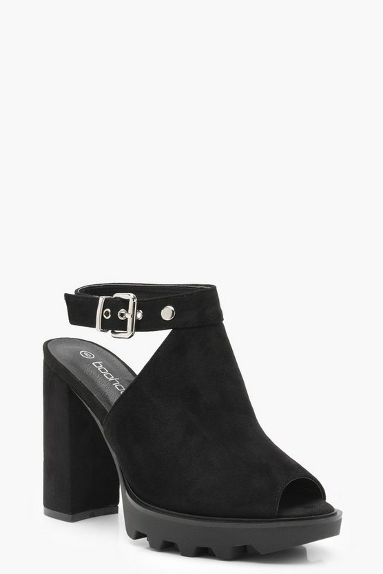 Platform Cleated Sling Back Mules