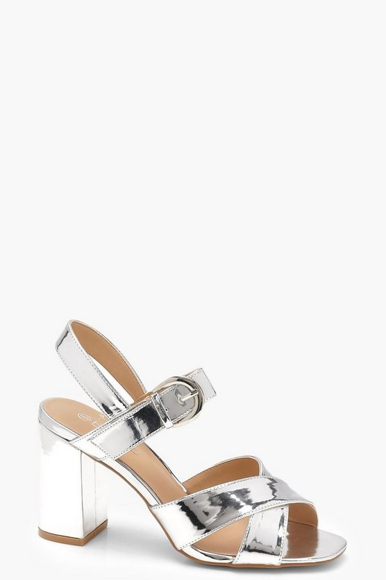 Nicole Wide Fit Cross Strap Block Heels
