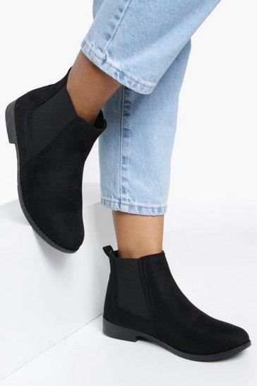 Black Suedette Flat Chelsea Boots