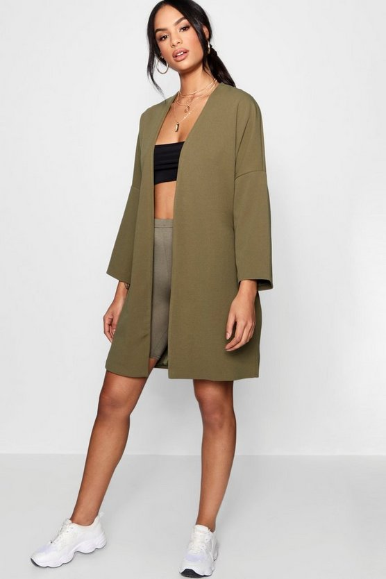 Drop Shoulder Belted Duster Jacket