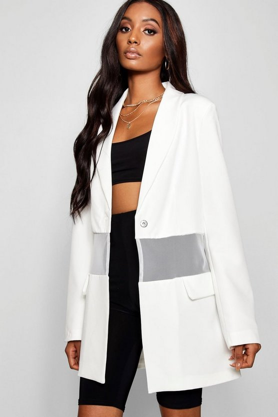 Tailored Mesh Insert Pocket Blazer