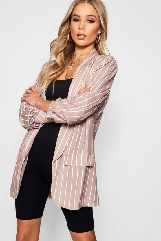 Sadie Stripe Ruched Sleeve Blazer