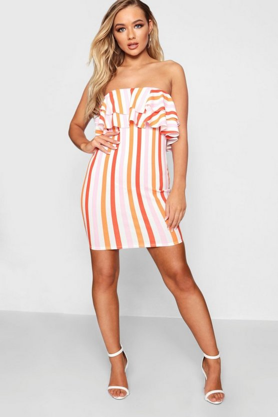 Bright Stripe Layered Frill Bodycon Dress