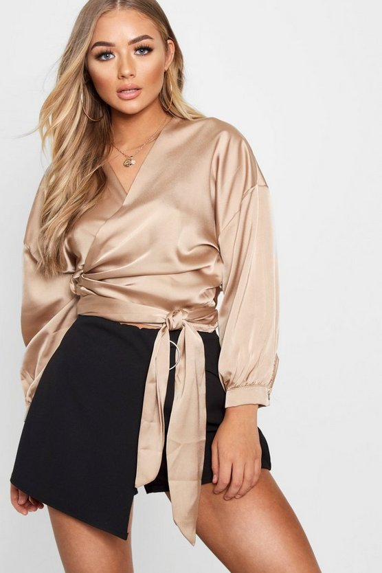 Satin Wrap Cuff Detail Blouse