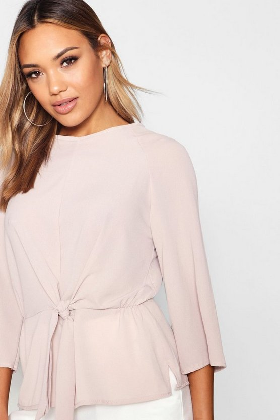 Danielle Tie Front Flute Sleeve Blouse by Boohoo