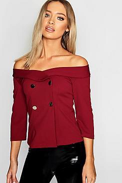 Smoking Bluse mit Knopfleiste und ausgeschnittenen Schultern - Boohoo.com