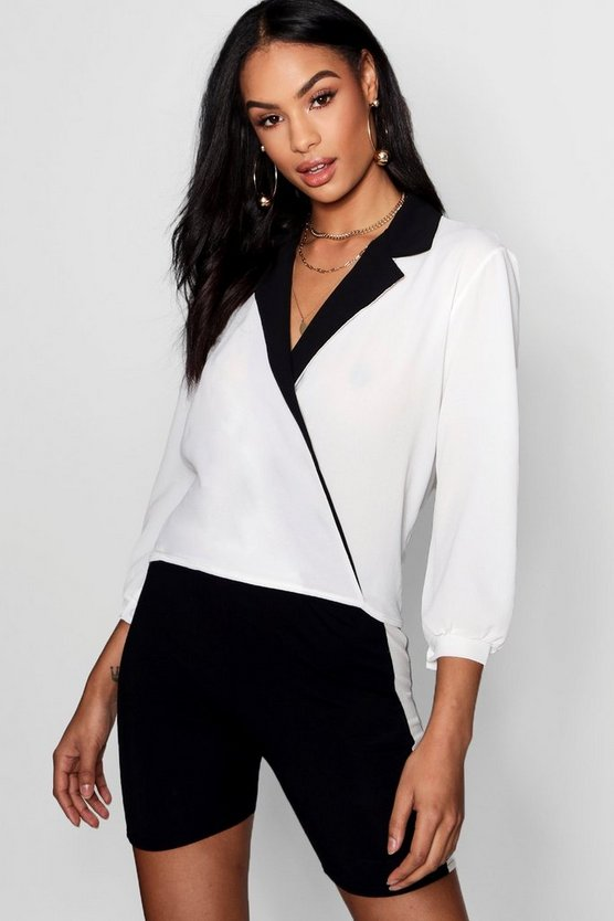 Contrast Collar Wrap Blouse