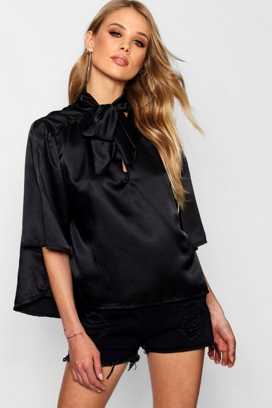 Satin Pussy Bow Flute Sleeve Blouse